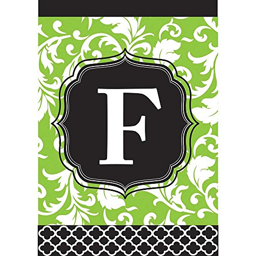 Monogram F Filigree Green and Black Shield 18 x 13 Rectangular Double Applique Small Garden - Best Tailgate Songs