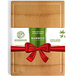 Natural Extra Large Bamboo Cutting Board with Drip Groove & Hand Grips, Healthy Organic Single Piece - Glue Free Chopping Board. XL 18X12 - Best Cutting Board for Kitchen. A Perfect Serving Tray.