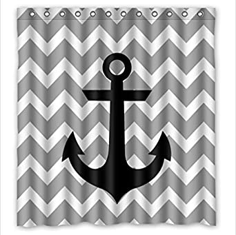 Amazon.com: Anchor shower curtain New Style Grey White Chevron ...