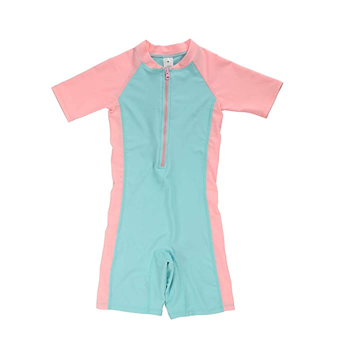362efe97f361a DAYU Girls Short Sleeve Rash Guard 1 Piece Swimsuit Sunsuit UPF 50+, Pink  Blue