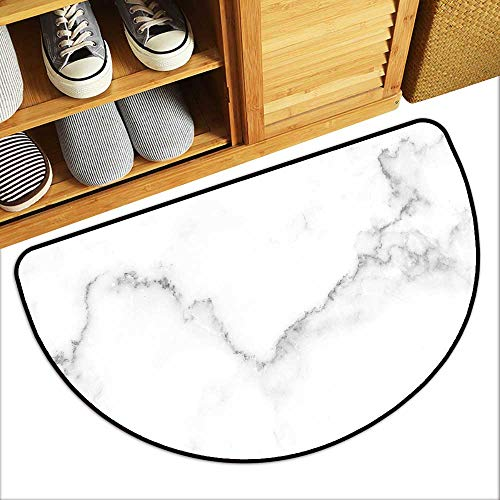Beautiful Fan-Shaped Bedside Rug Natural White Marble Texture for Skin Tile Wallpaper Luxurious backgroun Antiskid Entrance Mat W23xH15 INCH (Trapper Marbles)