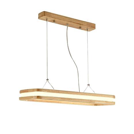 Moderno LED Regulable Colgante de luz Madera Pantalla ...