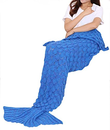 Christmas Gifts Pregnant Women - MOKOQI Mermaid Tail Blanket Thicker 6mm Soft Crochet Baby Knitted Blankets for Kids Girls Boys Adults Pregnant Women Sleeping Reading Watching TV 72