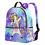 Unicorn School Backpack for Girls Galaxy Cute Bookbags Elementary School Bags 12.6'x 5' x 14.8' for 1th- 6th Grade Kids Girls Boys
