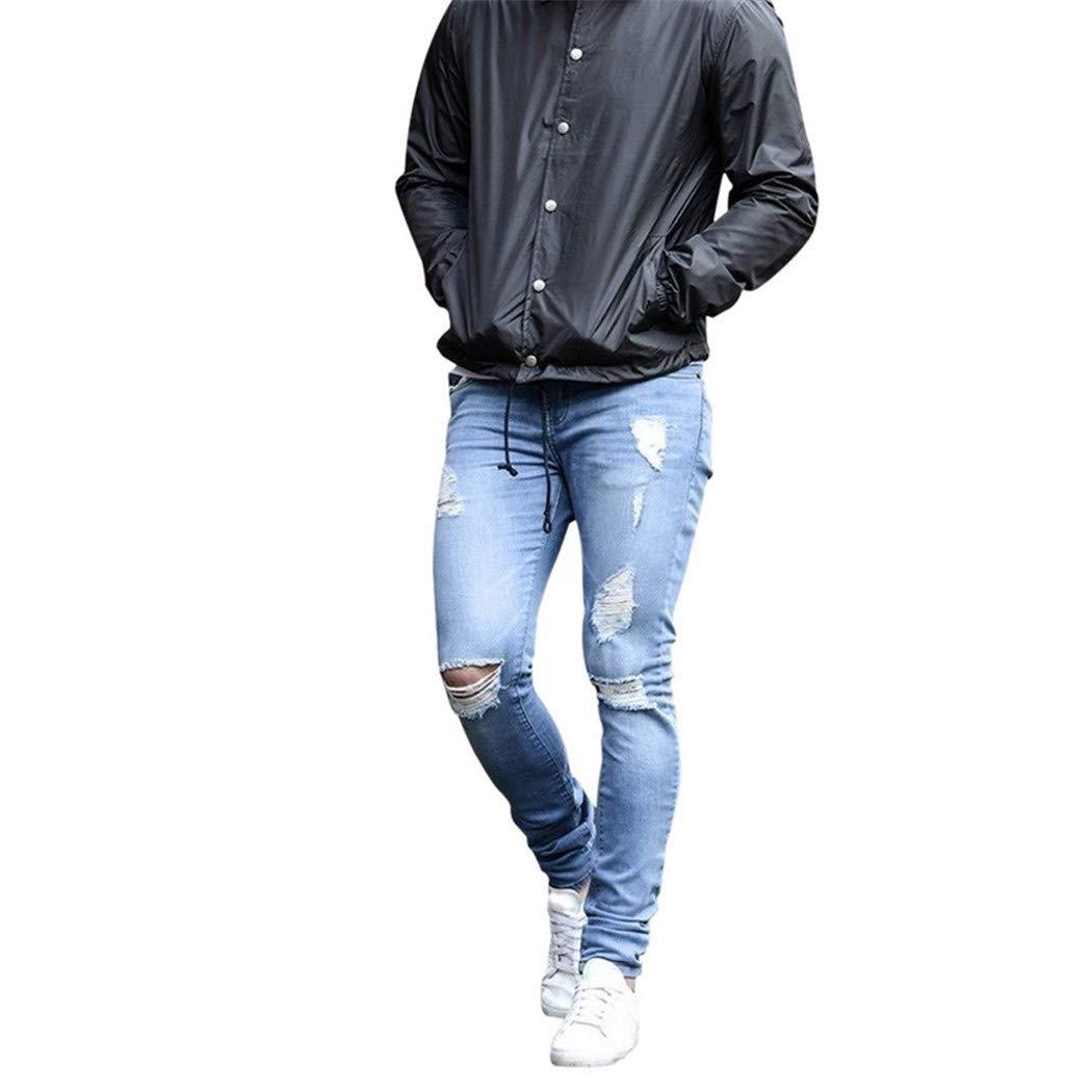 Amazon.com: Otoño Skinny Jeans Hombres Recto Pantalones de ...