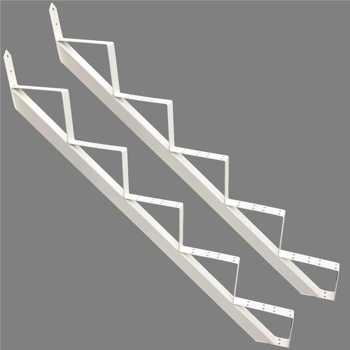 4 stufig Treppenrahmen 2-10 Stufen-Wahl Stahl-Treppe WeissTreppenholm//W/ählen Sie die Stufen-Anzahl
