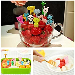 Liangxiang Cute Cartoon Animal Food Fruit Picks Forks Bento Box Lunch Box Decor Pack of 10/8 PCS