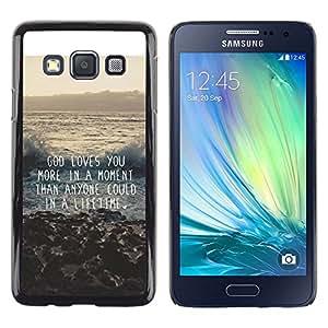 Dios cita de motivación de la inspiración - Metal de aluminio y de plástico duro Caja del teléfono - Negro - Samsung Galaxy A3