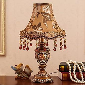 YFF@ILU Luxus Vintage Style American Rose Garden Fabric Lampe  Nachttischlampe Schlafzimmer Ideen Hochzeit