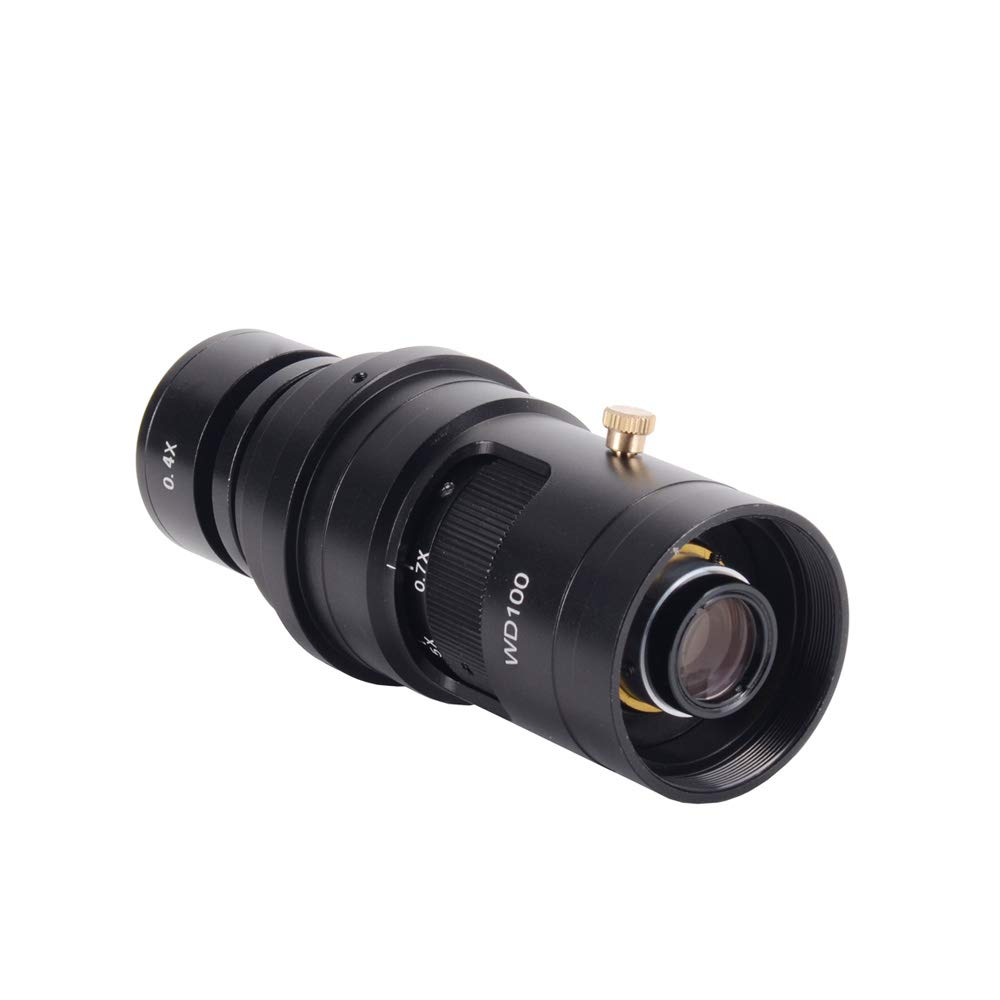 HAYEAR HD 10X-200X Continuously Magnification Zoom C-Mount Lab Monocular Glass Lens 50mm Ring Fixed Magnifier Lens for Soldering Micro-Repair School Teaching