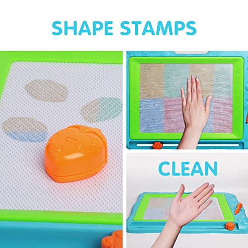 51CGR579yNL - JOYNOTE Large Magnetic Drawing Board for Kids, Colorful Magnet Writing Sketching Pad,Education Toys for Toddlers Learning with 5 Shape Stamps,6 Copy Cards,1 Replacement Pen and 2 Lovely Sticker