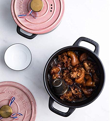 SHYOD Casserole-céramique Rond Noir Plat Casserole/Argile Pot/Pot Terrestres/Batterie de Cuisine en céramique (Size : 2800ml)