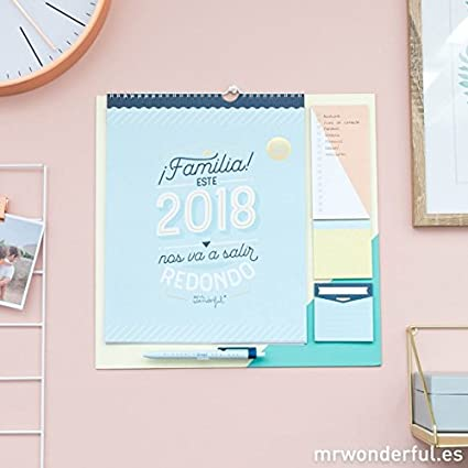 Mr. Wonderful WOA08666ES - Calendario familiar con diseño ¡Familia!, este 2018 nos va a salir redondo