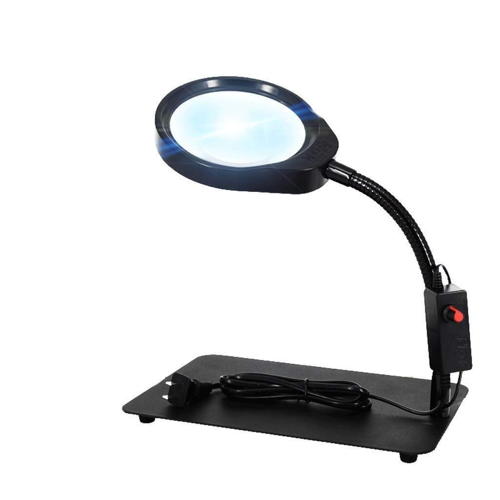 Magnifier Desktop Magnifying Glass, Lamp Reading Lamp for The Elderly, Repair Table Lamp, HD Mirror with Lamp, Electronic Magnifying Glass (Color : Black) by Magnifier
