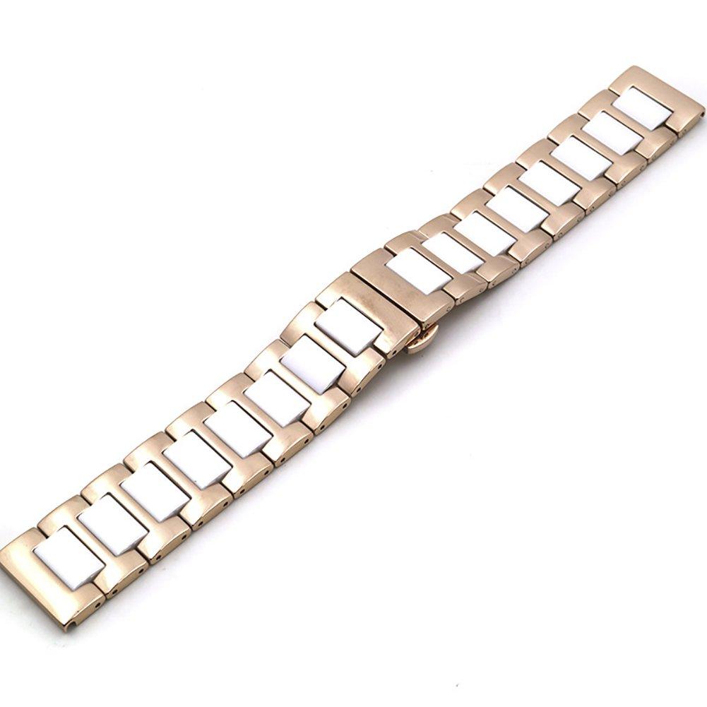 chezabbeyステンレススチールとセラミック腕時計バンド交換用Deployment Clasp時計ストラップ16 / 18 / 20 / 22 mm 16 MM White&Rose Gold 16 MM|White&Rose Gold White&Rose Gold 16 MM B0749FXG7N