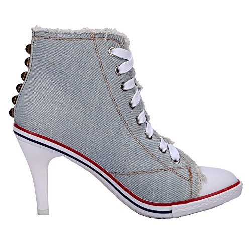 A Canvas Fashion High Sneakers Heel Women's up Light stiletto Chunky Boots Rivet Lace Ankle fereshte Stiletto Blue qzOSYq