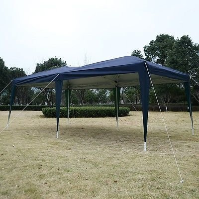 Outdoor Easy Pop Up Tent Cabana Canopy Gazebo with Carry Bag 10' x 20' Blue