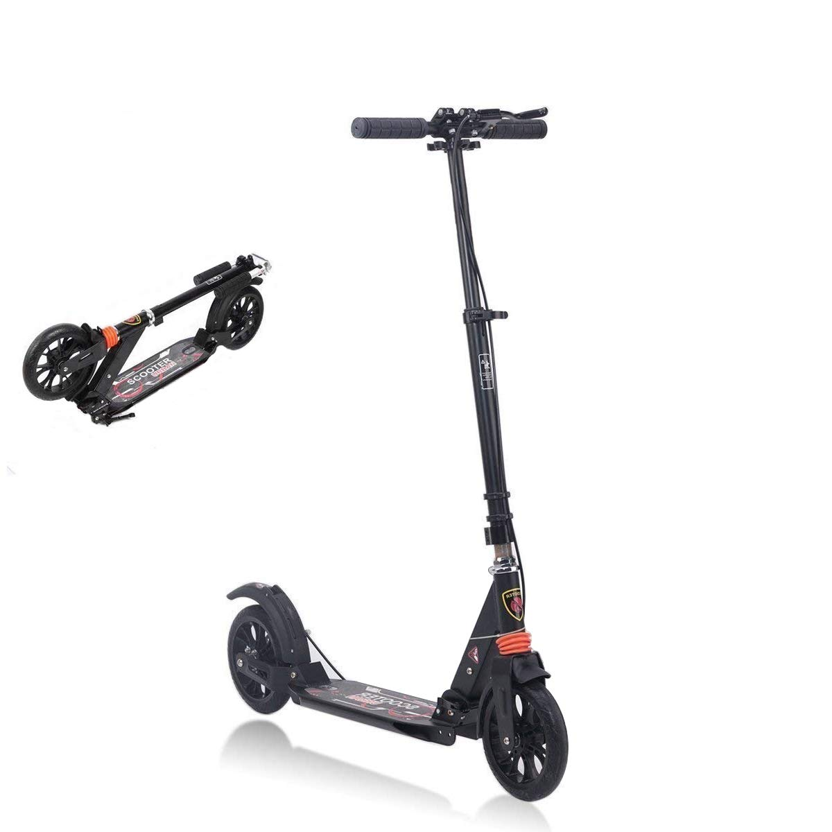 MONODEAL Adjustable Kick Scooter for Adults Teens, 2 Big Wheels with Aluminum Alloy Commuter Scooter for Kids 8 Years and up, Foldable Scooter with Dual Suspension/Rear Fender Brake by MONODEAL