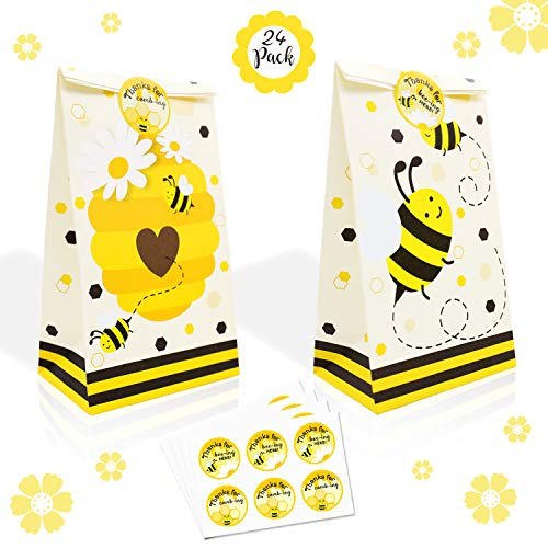24 Pack Honey Bee Party Candy Favor Bags with Thank You Stickers, Bumble Bee Goody Gift Treat Bags for Bee Birthday Baby Shower Wedding Supplies