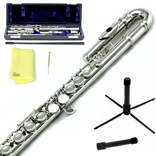 Sky C Flute with Lightweight Case, Cleaning Rod, Cloth, Joint Grease and Screw Driver -  Curved Silver