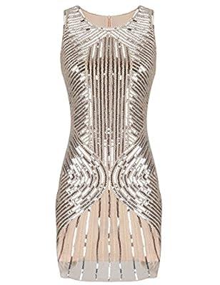PrettyGuide Women's 1920s Great Gatsby Beaded Sequin Embellished Flapper Dress