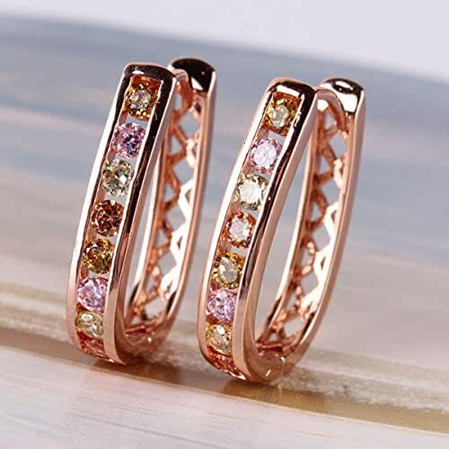 Chokushop Fashion Crystal Hoop Earrings for Women Earrings in gold with stones 18k Rose Gold Plated Loop Earrings with Zirconia E307