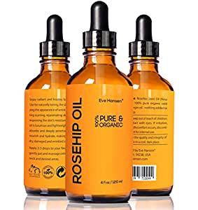 4oz Organic Rosehip Oil - BIG 4 OUNCE! - 100% Pure & Certified Organic Cold Pressed - SEE RESULTS OR YOUR MONEY-BACK - Heals Dry Skin, Fine Lines, Acne Scars, Eczema, Psoriasis, Sun Damage & More!