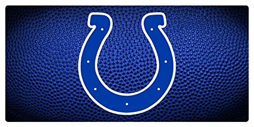 Indianapolis Colts Team Ball Style Deluxe Acrylic Laser Cut Mirrored License Plate Tag ()
