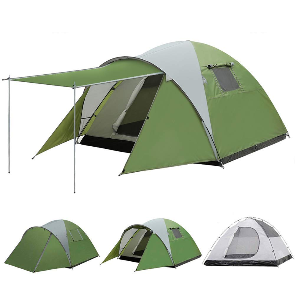 AYAMAYA Camping Tents 3-4 Person/People/Man [Sleeping Room + Front Porch], Durable Double Wall/Layer Waterproof Rip-Stop Polyester [2 Doors] Ventilation 4 Season Mountain Tents Shelter for Outdoor