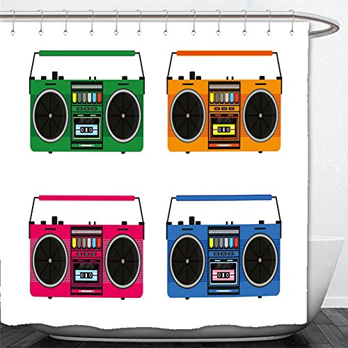 Beshowere Shower Curtain flat vintage tape recorders set for audio cassettes music boombox modern trendy design for music