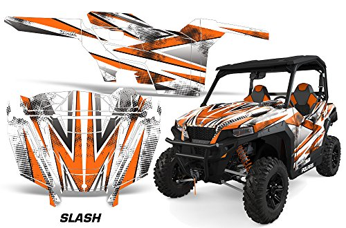 AMRRACING Polaris General 2016+ Full Custom UTV Graphics Decal Kit - Slash Orange ()
