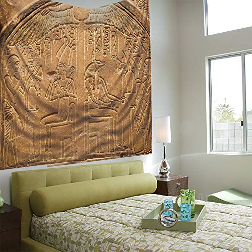 Popular Flexible Hot Tapestries Privacy Decoration,Egyptian,Egyptian Hieroglyphs on The Wall Stone Surface Scripts Ancient Arts Theme Image,Light Brown (Best Tapestries On Society6)