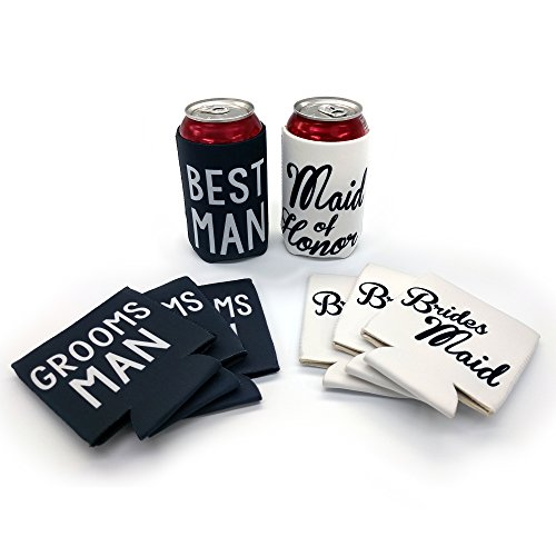 Best Man Maid Of Honor - Wedding Party Can and Bottle Coolers, Best Man, Maid of Honor, Groomsman, and Bridesmaid Coolies, (8 Pack)