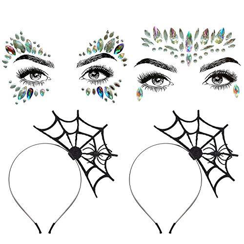 Aniwon 2PCS Halloween Spider Web Headband+2 PCS Rhinestone Face Jewels, Spider Headband Halloween Party Headband Hair Hoop with Mermaid Face Gems Glitter for Women Halloween Cosplay Party Costume