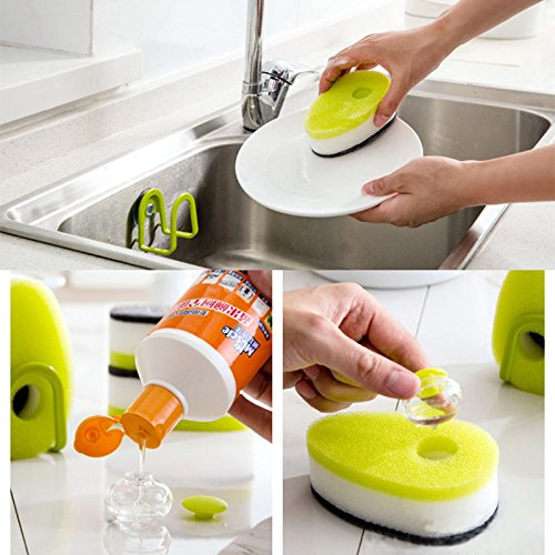 Pack of 3 Dishwash Sponge Brush With Liquid Soap Foam Pads