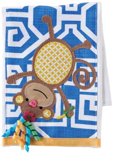 Mud Pie Baby Newborn Dribble and Burp Cloths, Monkey/Blue Cloth Monkey Burp Cloth