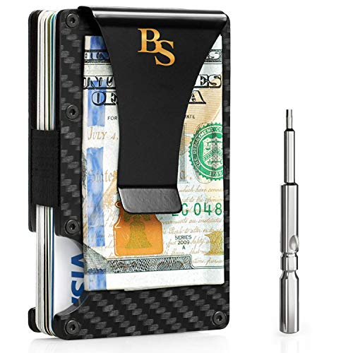 Minimalist Carbon Fiber Wallet for Men | RFID Blocking Wallet Up to 12 Cards | Slim Metal Wallet - Fiber Wallet - Mens Wallet