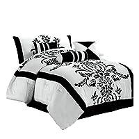 Chezmoi Collection - Juego de edredón de 7 piezas, en blanco con flores negras, juego de cama en bolsa para ropa de cama de tamaño completo /doble, 86 por 88 pulgadas