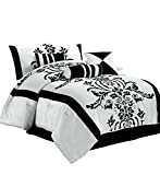 Bed in a Bag King Chezmoi Collection 7-Piece White with Black Floral Flocking Comforter Set Bed-in-a-Bag for King Size Bedding, 106 by 92-Inch