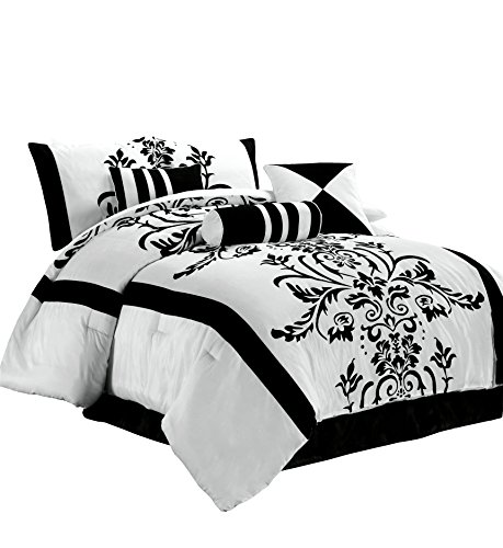 Chezmoi Collection 7-Piece White with Black Floral Flocking Comforter Set Bed-in-a-Bag for King Size Bedding, 106 by 92-Inch (King Size Black And White Bedding Set)