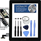 Black iPad 2 Digitizer Replacement Screen Front Touch Glass Assembly Replacement - Includes Home Button + Camera Holder + Pre-Installed Adhesive with Tools - Repair Kit by Cell Phone DIY