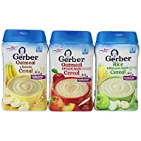 Gerber Baby Cereal 3 Paquete de Variedades de Sabor: (1) Cereal Gerber Oatmeal & Banana, (1) Cereal Gerber Oatmeal & Peach Apple, y (1) Cereal Gerber Rice & Banana Apple, 8 Oz. Ea. (3 contenedores 8 Oz. Ea.)