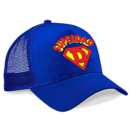 Batch1 Men's Superdad Classic Superman Movie Cap Fathers Day Gift Present One Size Royal (Superman Classic Cap)