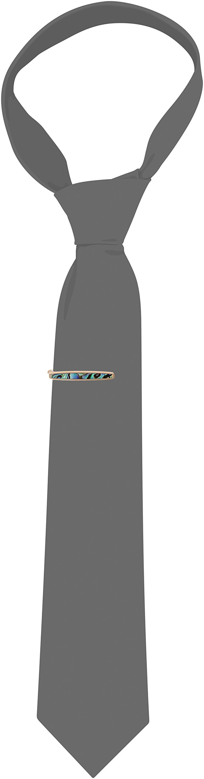 Men's Stainless Steel Rose Ion Bar with Abalone Inlay Tie Clip by Amazon Collection (Image #2)