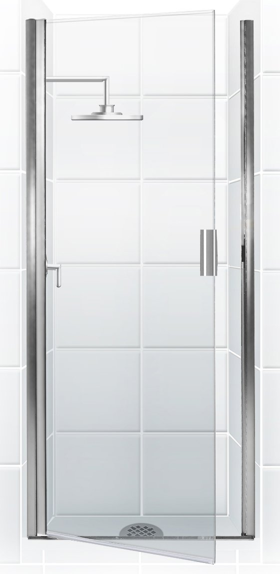Coastal Shower Doors PQFR24.66B-C Paragon Series Semi-Frameless Continuous Hinge Shower Door in Clear Glass, 24 x 65 , Chrome
