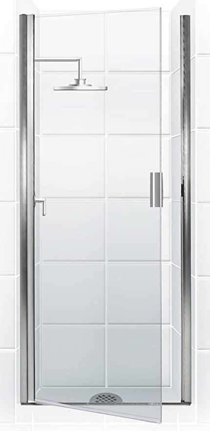 Coastal Shower Doors Paragon Series Semi-Frameless Continuous Hinge Shower Door In Clear Glass & Coastal Shower Doors Paragon Series Semi-Frameless Continuous Hinge ...