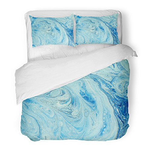 SanChic Duvet Cover Set Green Gold Marbled Blue and Golden Abstract Liquid Marble Pattern Agate Aqua Decorative Bedding Set with 2 Pillow Shams Full/Queen Size