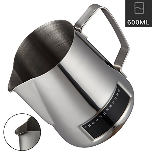 Milk Frothing Pitcher,Coffee4u Stainless Steel Creamer Frothing Pitcher With Integrated Thermometer 20 oz (600 ml), Chrome by Coffee4u