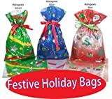 GiftMate 48 Piece Gift Bag and Tag Set - New 1-2-3 EZ Wrap Gift Bags with Inserted Ribbons