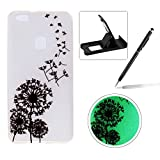 TPU Case for Huawei P10 Lite,Night Luminous Case for Huawei P10 Lite,Herzzer Stylish Colorful Pattern Effect Green Night Glow In The Dark Scratch Proof Silicone Protective Cover for Huawei P10 Lite + 1 x Free Black Cellphone Kickstand + 1 x Free Black Stylus Pen